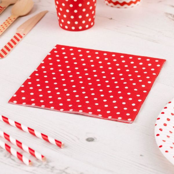 Carnival Red Napkins - Dots (20)